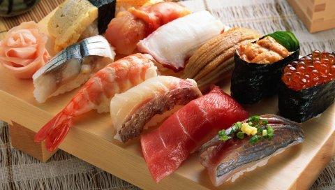Рулеты, суши, мясо, рыба