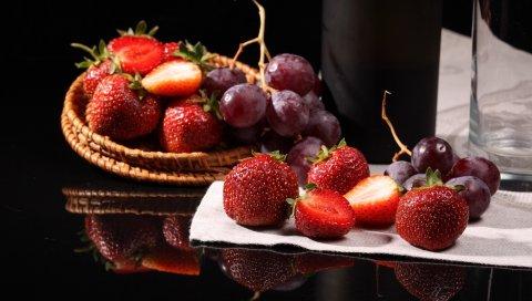 Клубника, виноград, еда, вкусные
