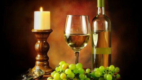 Вино, бутылка, бокал, свеча