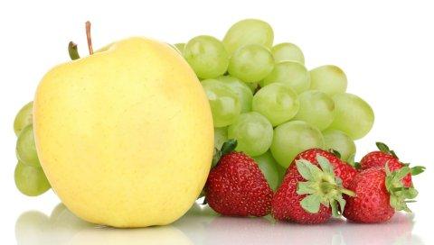 Виноград, яблоко, клубника, вкусный, фруктовый