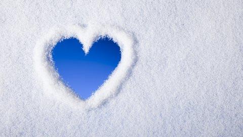 Снег, сердце, фон