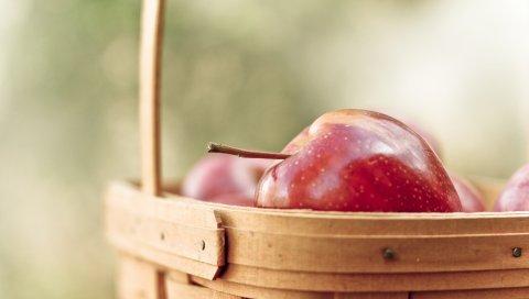 Яблоко, фрукты, спелые, корзина