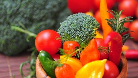 Овощи, огурцы, помидоры, миска