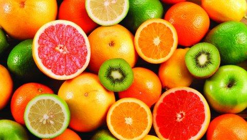Лимон, апельсин, киви, фрукты