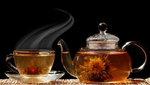 Чай, чайник, пар, чашка