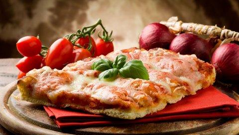 Пицца, помидор, помидоры черри, базилик