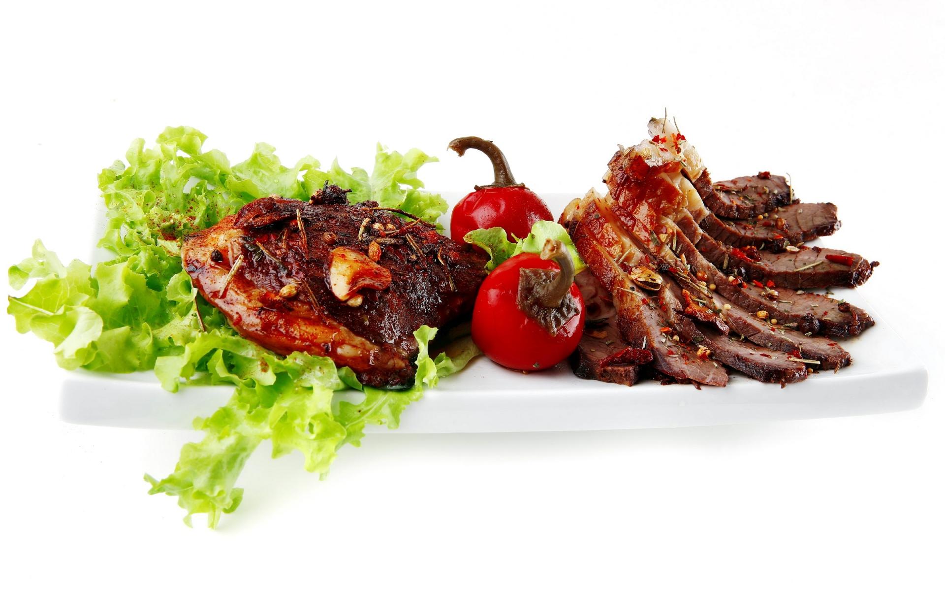 Картинки Мясо, гриль, зелень, овощи фото и обои на рабочий стол