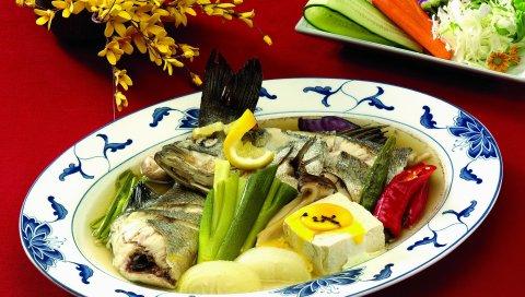 Рыба, яйца, петрушка, тарелка, блюдо