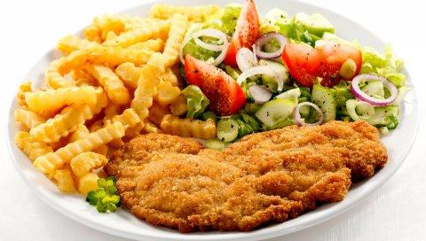 Мясо, картофель, овощи, ужин
