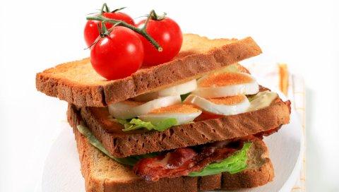 Сэндвич, яйца, помидоры, хлеб, мясо