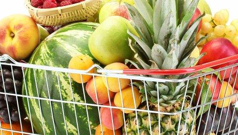 Корзина, ягоды, фрукты, спелые, вкусные