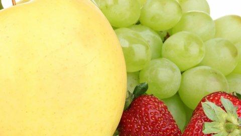 Яблоко, клубника, виноград