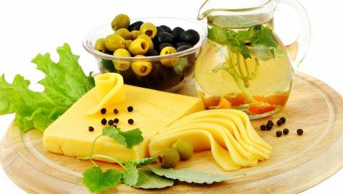 Сыр, оливки, вкусный