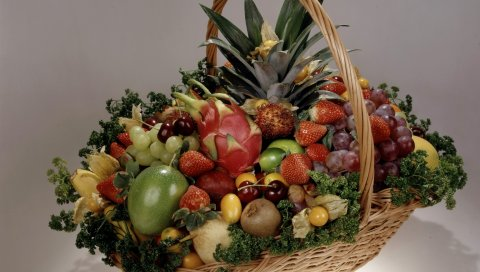 Фрукты, ягода, корзина, натюрморт