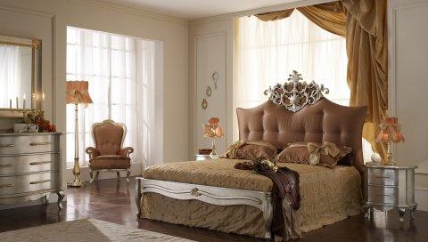 Комната, кровать, красивый, украшение, дизайн