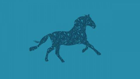 Лошадь, рисунок, фон, узоры