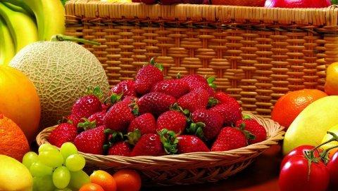 Ягоды, фрукты, клубника, дыня, виноград