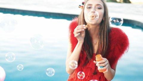 Nina dobrev, пузыри, вода, актриса, знаменитость