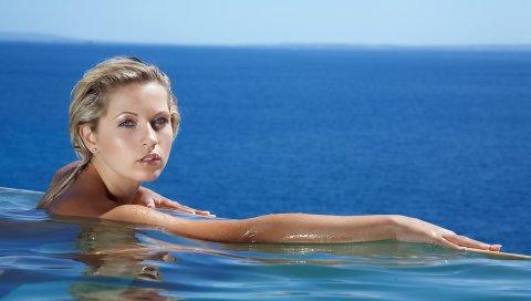 Девушка, море, плавание, лицо, блондинка