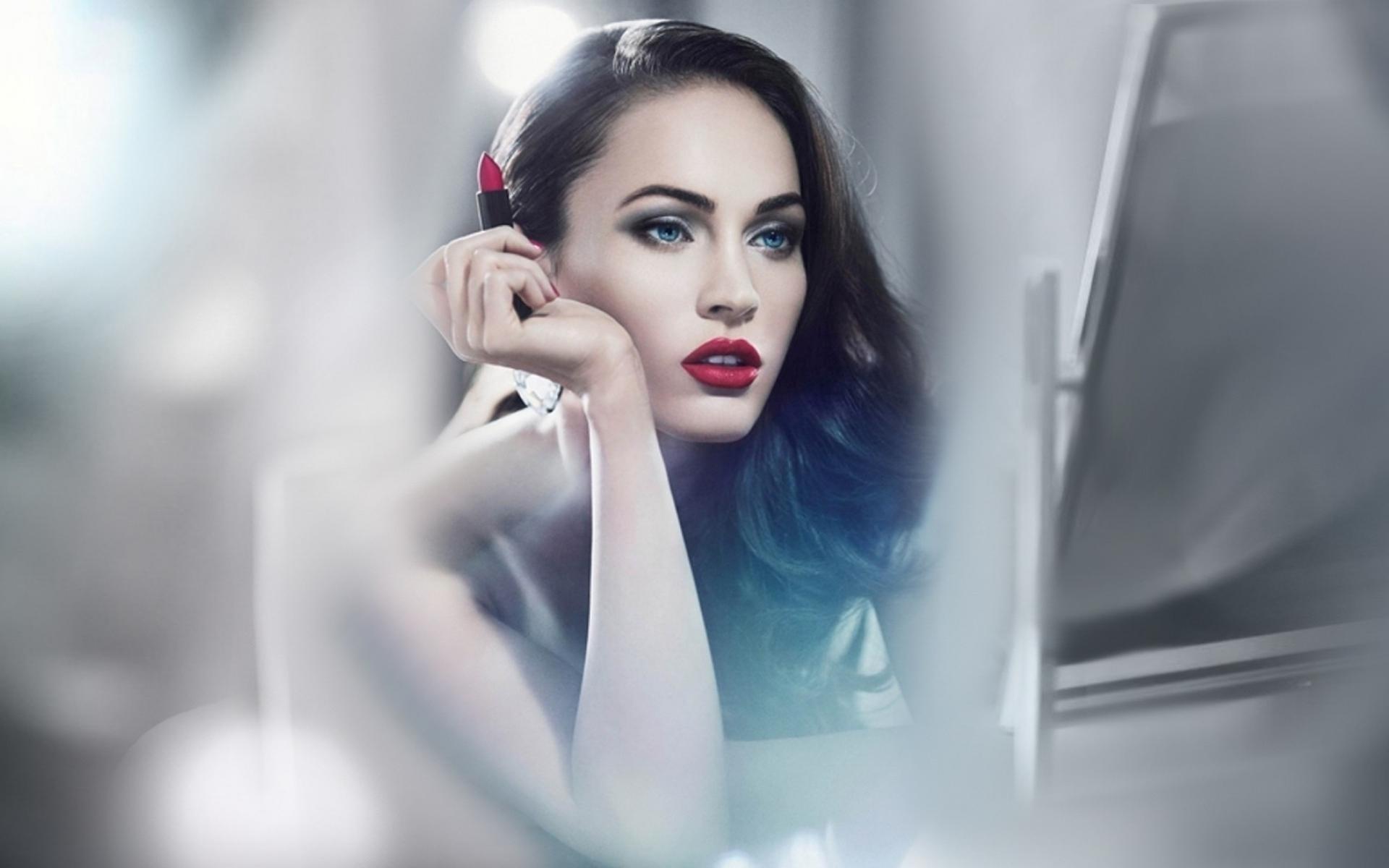 Картинки Меган фокс, лицо, помада, макияж фото и обои на рабочий стол