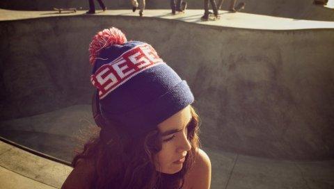 Девушка, волосы, шляпа, брюнетка