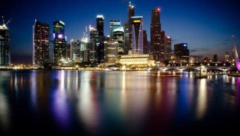 Шанхай, Китай, город, ночь, здание
