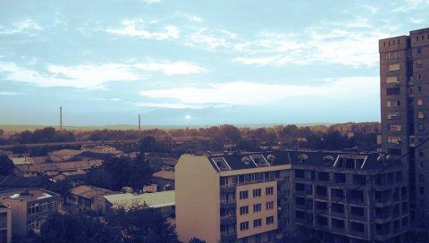 Здание, вид сверху, город, небо