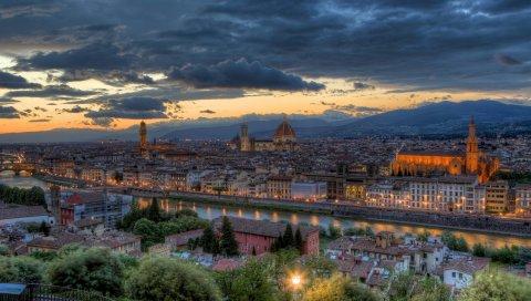 Флоренция, Италия, здания, панорама, hdr