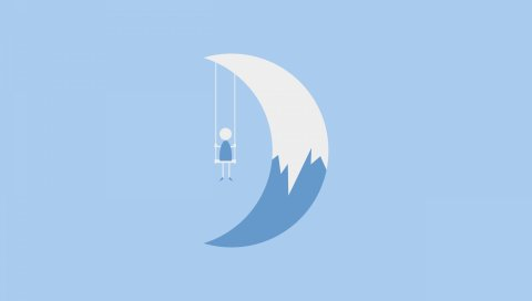 Луна, человек, рисунок, минимализм