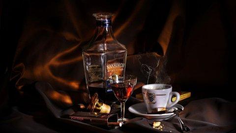 Нахимов, кофе, бренди, чашка, стакан