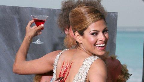 Eva mendes, campari, спина, царапина, улыбка, пить, алкоголь