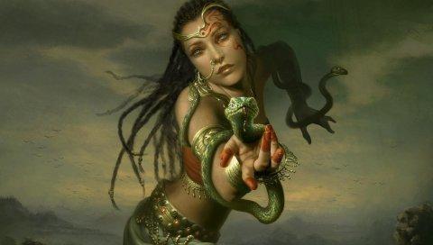 Девушка, рука, змеи, косы, украшения
