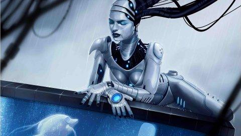 Девушка, киборг, механизм, аквариум, рыба
