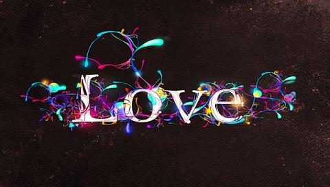 Любовь, надпись, дизайн, свечение