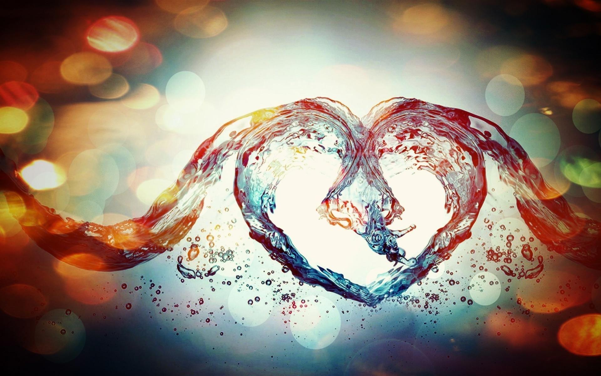 Картинки Сердце, блики, пятна, вода, жидкость фото и обои на рабочий стол