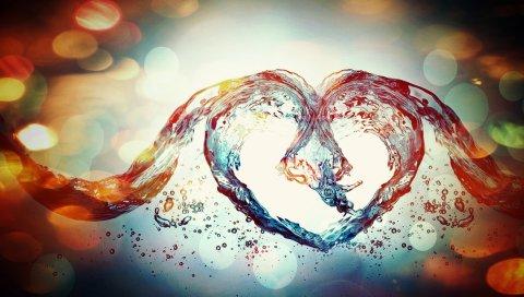 Сердце, блики, пятна, вода, жидкость