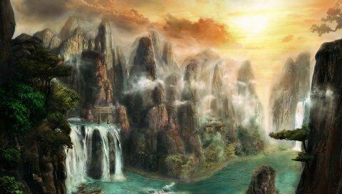 Скалы, водопады, туман, природа