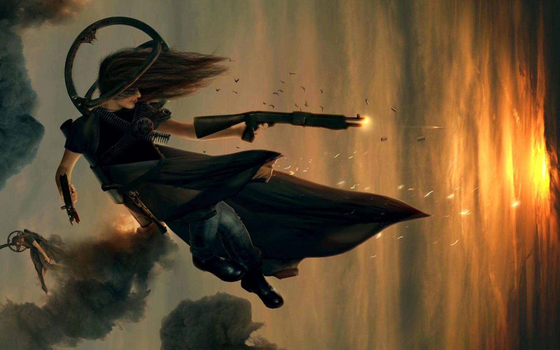 Картинки Девушка, стрельба, огонь, рукав, прыжок фото и обои на рабочий стол