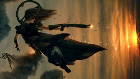 Девушка, стрельба, огонь, рукав, прыжок