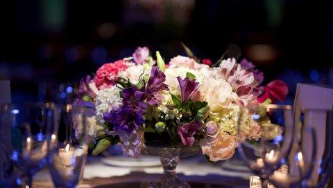 Астрометрия, гортензия, цветы, миска, композиция, стол, элегантные настройки места
