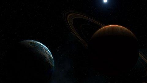 Планета, кольцо, звезда, космос