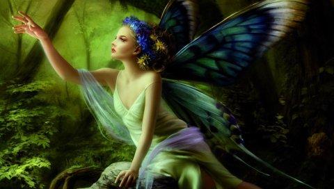 Девушка, крылья, бабочка, дерево, цветы, рука