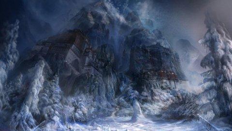 Монастырь, зима, снег, туман