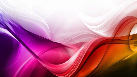 Волны, фон, красочные, линии