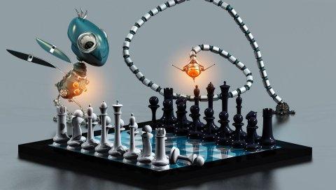 Шахматы, доска, роботы, животные, вечеринка, игра