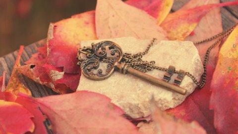 Ключ, металл, листья, осень, красный, цепь, камень, доска