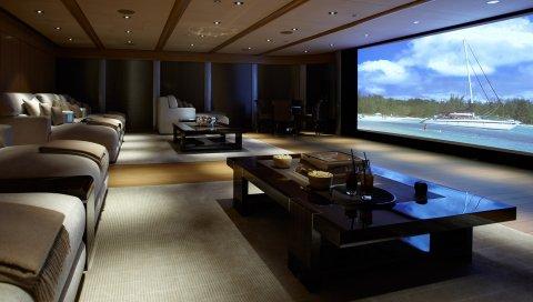 Интерьер, домашний кинотеатр, диваны, подушки, столы, освещение, экран, пленка