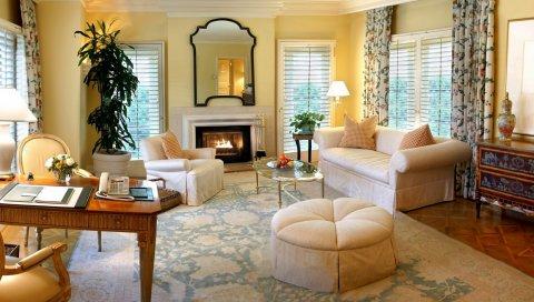 Комната, гостиная, мебель, камин, уютная, светлая комната, интерьер