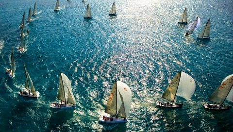 Парусный спорт, море, плавание, многие
