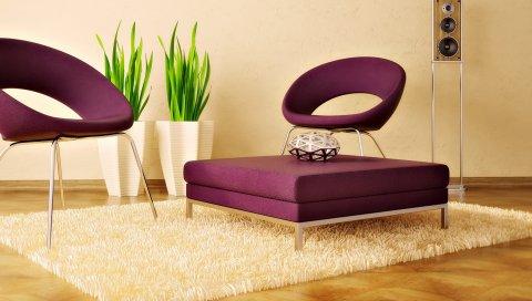 Стул, ковер, растения, мебель, колонка